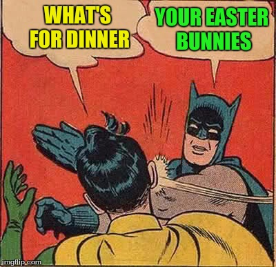 Batman Slapping Robin Meme | WHAT'S FOR DINNER YOUR EASTER BUNNIES | image tagged in memes,batman slapping robin | made w/ Imgflip meme maker