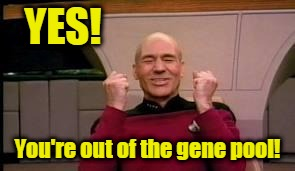Picard's happy you're out of the Gene Pool | YES! You're out of the gene pool! | image tagged in happy picard,gene pool,stupid people | made w/ Imgflip meme maker