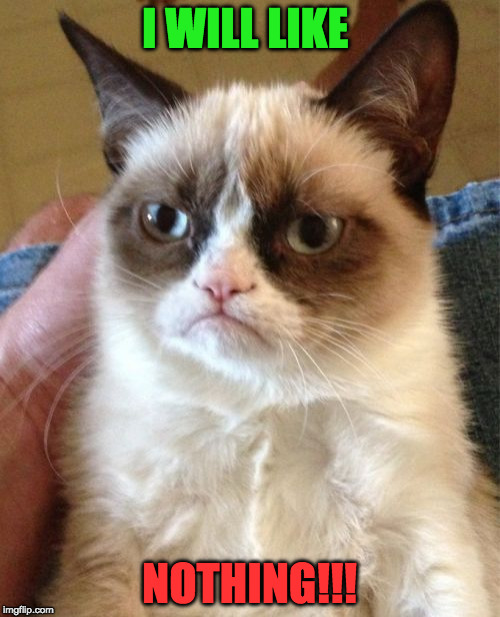 Grumpy Cat Meme | I WILL LIKE NOTHING!!! | image tagged in memes,grumpy cat | made w/ Imgflip meme maker