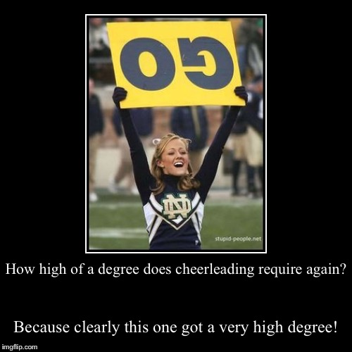How high of a degree does cheerleading require again? | Because clearly this one got a very high degree! | image tagged in funny,demotivationals | made w/ Imgflip demotivational maker