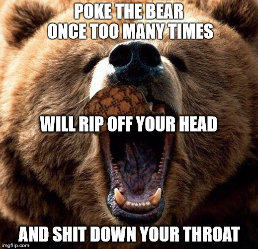 Don't poke the bear  | POKE THE BEAR ONCE TOO MANY TIMES AND SHIT DOWN YOUR THROAT WILL RIP OFF YOUR HEAD | image tagged in don't poke the bear,scumbag | made w/ Imgflip meme maker