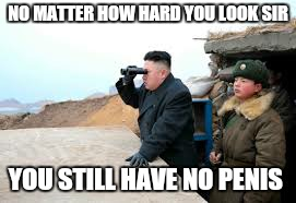 Small dick wonder boy | NO MATTER HOW HARD YOU LOOK SIR YOU STILL HAVE NO P**IS | image tagged in memes,north korea internet,ww3,first world problems,funny,peace on earth | made w/ Imgflip meme maker