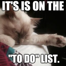 "Never do today what you can do tomorrow  | IT'S IS ON THE ""TO DO"" LIST. 