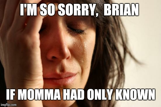 First World Problems Meme | I'M SO SORRY,  BRIAN IF MOMMA HAD ONLY KNOWN | image tagged in memes,first world problems | made w/ Imgflip meme maker
