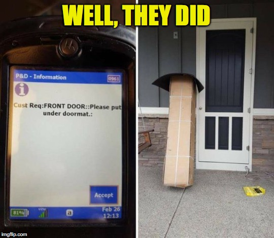 Following Instructions to the Letter | WELL, THEY DID | image tagged in funny memes,delivery | made w/ Imgflip meme maker