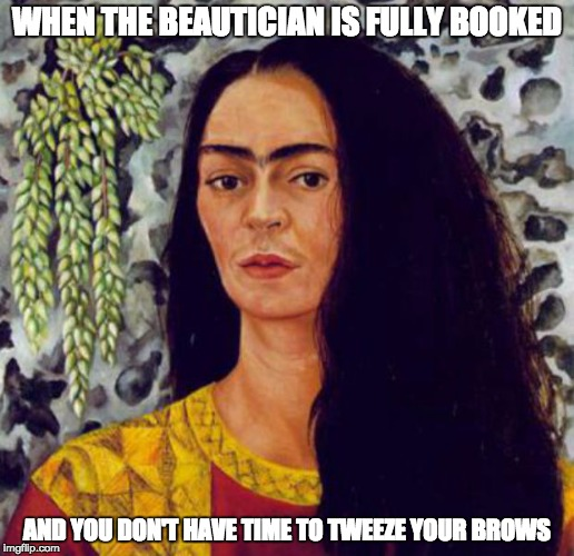 Harambe? Is that you?  | WHEN THE BEAUTICIAN IS FULLY BOOKED AND YOU DON'T HAVE TIME TO TWEEZE YOUR BROWS | image tagged in eyebrows,frida | made w/ Imgflip meme maker