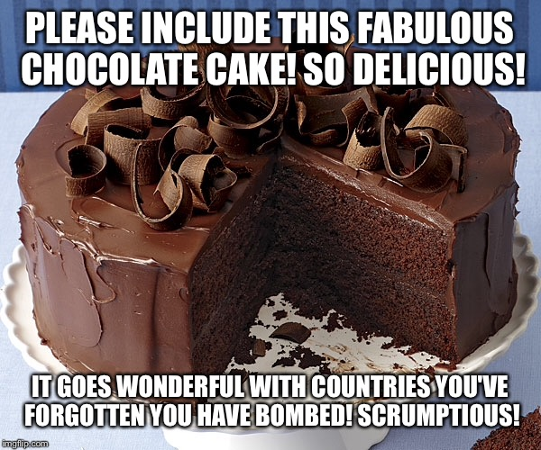 PLEASE INCLUDE THIS FABULOUS CHOCOLATE CAKE! SO DELICIOUS! IT GOES WONDERFUL WITH COUNTRIES YOU'VE FORGOTTEN YOU HAVE BOMBED! SCRUMPTIOUS! | made w/ Imgflip meme maker
