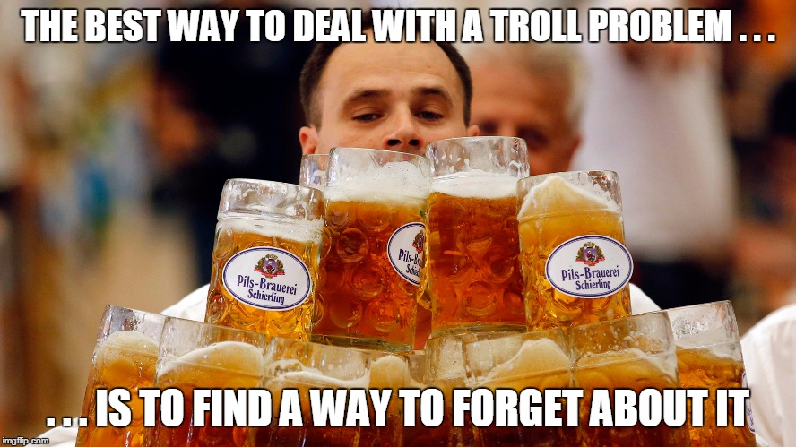THE BEST WAY TO DEAL WITH A TROLL PROBLEM . . . . . . IS TO FIND A WAY TO FORGET ABOUT IT | made w/ Imgflip meme maker