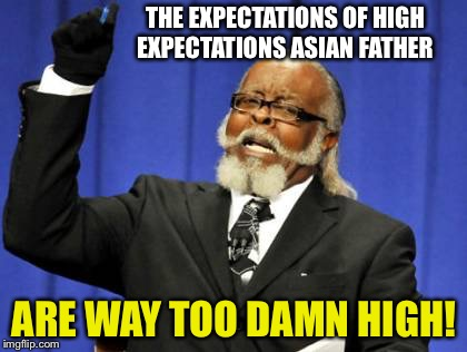 Too Damn High Meme | THE EXPECTATIONS OF HIGH EXPECTATIONS ASIAN FATHER ARE WAY TOO DAMN HIGH! | image tagged in memes,too damn high | made w/ Imgflip meme maker