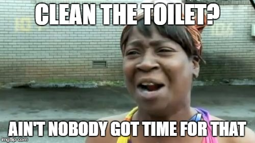 Aint Nobody Got Time For That Meme | CLEAN THE TOILET? AIN'T NOBODY GOT TIME FOR THAT | image tagged in memes,aint nobody got time for that | made w/ Imgflip meme maker