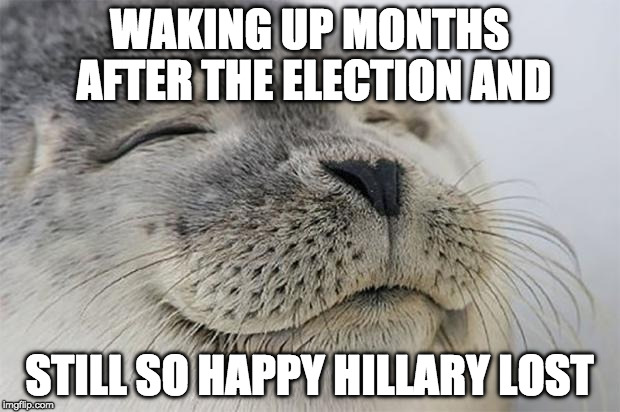 Seriously, America dodged a HUGE bullet.  | WAKING UP MONTHS AFTER THE ELECTION AND STILL SO HAPPY HILLARY LOST | image tagged in memes,satisfied seal,clinton,bacon,trump | made w/ Imgflip meme maker