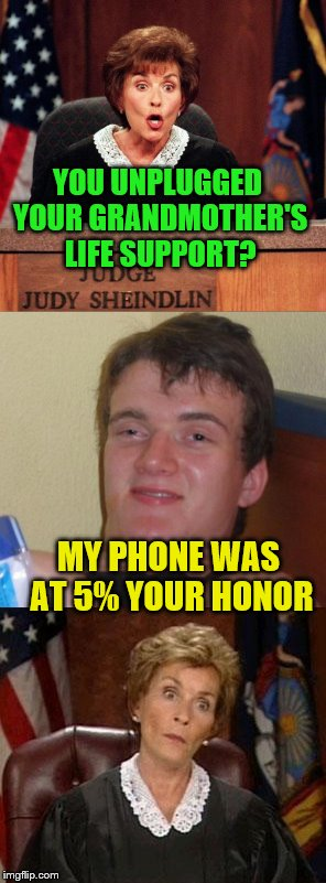 Hey, priorities | YOU UNPLUGGED YOUR GRANDMOTHER'S LIFE SUPPORT? MY PHONE WAS AT 5% YOUR HONOR | image tagged in judge judy | made w/ Imgflip meme maker