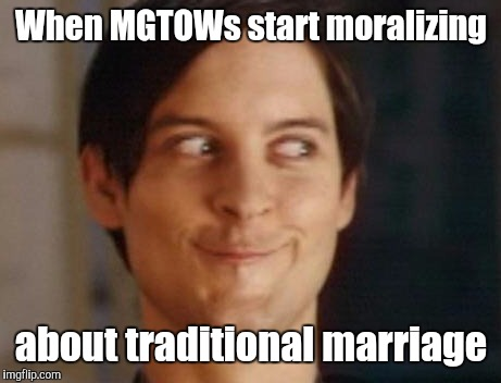 When MGTOWs start moralizing about traditional marriage | image tagged in spiderman peter parker,memes,my face when,mgtow,hypocrisy | made w/ Imgflip meme maker