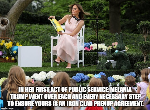 Make Marriage Great Again! | IN HER FIRST ACT OF PUBLIC SERVICE, MELANIA TRUMP WENT OVER EACH AND EVERY NECESSARY STEP TO ENSURE YOURS IS AN IRON CLAD PRENUP AGREEMENT. | image tagged in humor,political humor,melania trump,donald trump | made w/ Imgflip meme maker