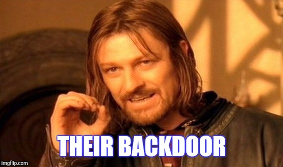 One Does Not Simply Meme | THEIR BACKDOOR | image tagged in memes,one does not simply | made w/ Imgflip meme maker