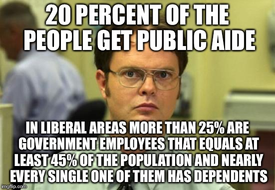 20 PERCENT OF THE PEOPLE GET PUBLIC AIDE IN LIBERAL AREAS MORE THAN 25% ARE GOVERNMENT EMPLOYEES THAT EQUALS AT LEAST 45% OF THE POPULATION  | made w/ Imgflip meme maker