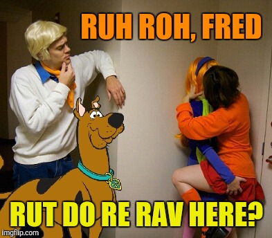 Did not see this coming... | RUH ROH, FRED RUT DO RE RAV HERE? | image tagged in cleavage week,scooby doo | made w/ Imgflip meme maker