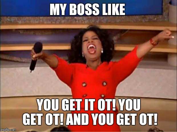 MY BOSS LIKE YOU GET IT OT! YOU GET OT! AND YOU GET OT! | image tagged in memes,oprah you get a | made w/ Imgflip meme maker