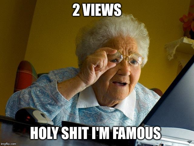 Grandma Finds The Internet | 2 VIEWS HOLY SHIT I'M FAMOUS | image tagged in memes,grandma finds the internet | made w/ Imgflip meme maker