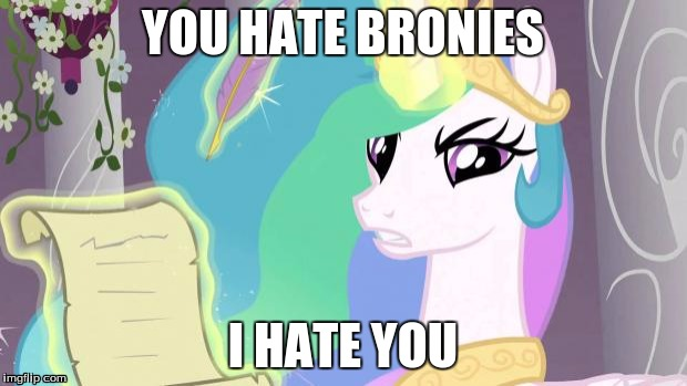 my little pony you failed the ap exam | YOU HATE BRONIES I HATE YOU | image tagged in my little pony you failed the ap exam | made w/ Imgflip meme maker