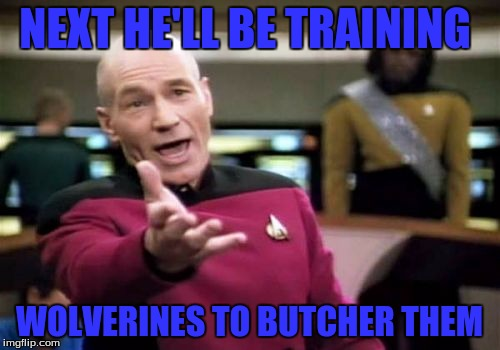 Picard Wtf Meme | NEXT HE'LL BE TRAINING WOLVERINES TO BUTCHER THEM | image tagged in memes,picard wtf | made w/ Imgflip meme maker
