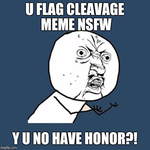 Always gotta be people who ruin the fun. Try to anyways  | U FLAG CLEAVAGE MEME NSFW Y U NO HAVE HONOR?! | image tagged in memes,y u no,cleavage week | made w/ Imgflip meme maker