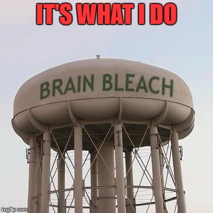 Brain Bleach Tower | IT'S WHAT I DO | image tagged in brain bleach tower | made w/ Imgflip meme maker