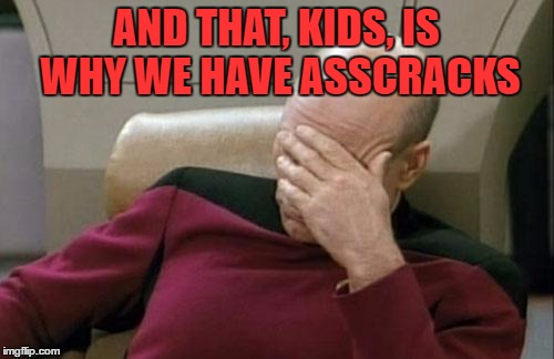 Captain Picard Facepalm Meme | AND THAT, KIDS, IS WHY WE HAVE ASSCRACKS | image tagged in memes,captain picard facepalm | made w/ Imgflip meme maker