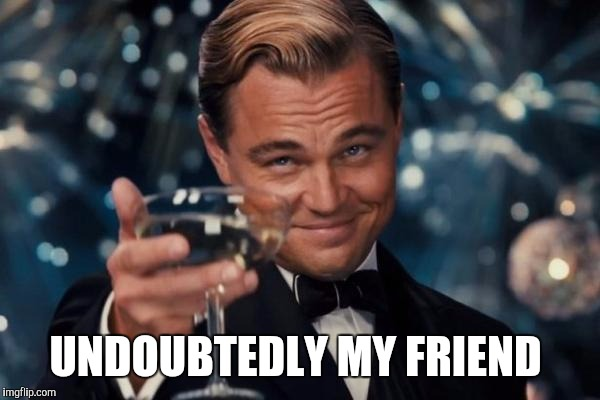Leonardo Dicaprio Cheers Meme | UNDOUBTEDLY MY FRIEND | image tagged in memes,leonardo dicaprio cheers | made w/ Imgflip meme maker