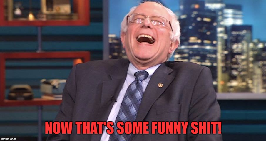 Bernie Laugh | NOW THAT'S SOME FUNNY SHIT! | image tagged in bernie laugh | made w/ Imgflip meme maker