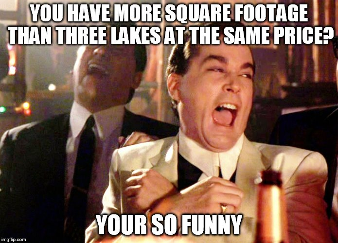 Good Fellas Hilarious |  YOU HAVE MORE SQUARE FOOTAGE THAN THREE LAKES AT THE SAME PRICE? YOUR SO FUNNY | image tagged in memes,good fellas hilarious | made w/ Imgflip meme maker