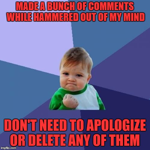 Success Kid Meme | MADE A BUNCH OF COMMENTS WHILE HAMMERED OUT OF MY MIND DON'T NEED TO APOLOGIZE OR DELETE ANY OF THEM | image tagged in memes,success kid | made w/ Imgflip meme maker