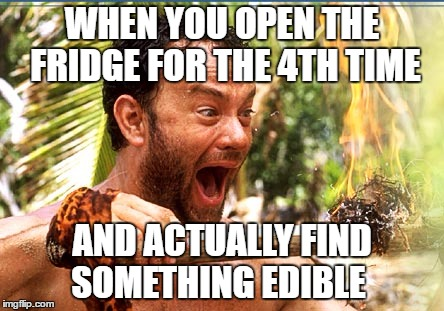 Castaway Fire Meme | WHEN YOU OPEN THE FRIDGE FOR THE 4TH TIME AND ACTUALLY FIND SOMETHING EDIBLE | image tagged in memes,castaway fire | made w/ Imgflip meme maker