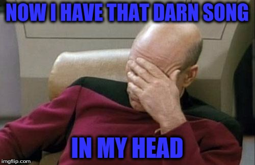 Captain Picard Facepalm Meme | NOW I HAVE THAT DARN SONG IN MY HEAD | image tagged in memes,captain picard facepalm | made w/ Imgflip meme maker