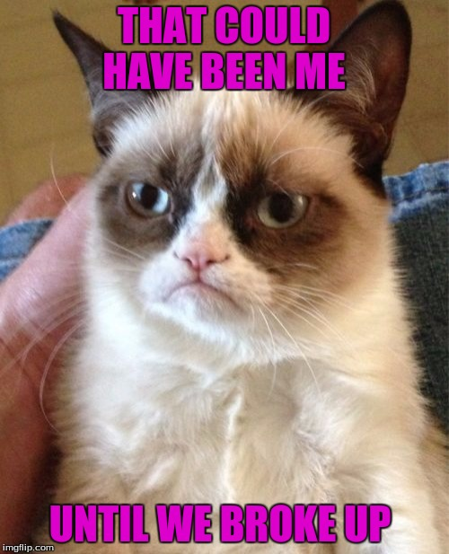 Grumpy Cat Meme | THAT COULD HAVE BEEN ME UNTIL WE BROKE UP | image tagged in memes,grumpy cat | made w/ Imgflip meme maker