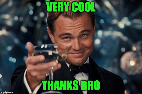 Leonardo Dicaprio Cheers Meme | VERY COOL THANKS BRO | image tagged in memes,leonardo dicaprio cheers | made w/ Imgflip meme maker