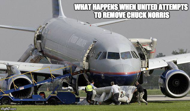 WHAT HAPPENS WHEN UNITED ATTEMPTS TO REMOVE CHUCK NORRIS | image tagged in united airline | made w/ Imgflip meme maker