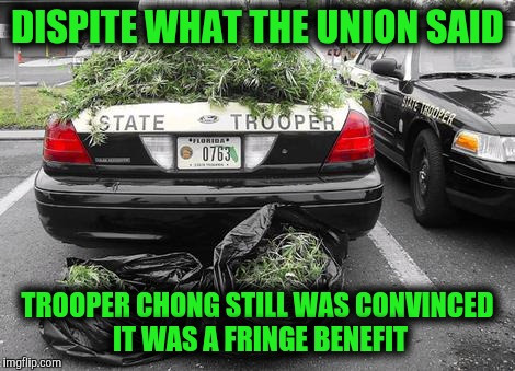 Happy 4-20, officer | DISPITE WHAT THE UNION SAID TROOPER CHONG STILL WAS CONVINCED IT WAS A FRINGE BENEFIT | image tagged in 420,drug bust,super troopers,memes | made w/ Imgflip meme maker