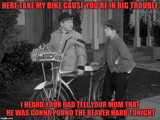 HERE TAKE MY BIKE CAUSE YOU'RE IN BIG TROUBLE I HEARD YOUR DAD TELL YOUR MOM THAT HE WAS GONNA POUND THE BEAVER HARD TONIGHT | made w/ Imgflip meme maker