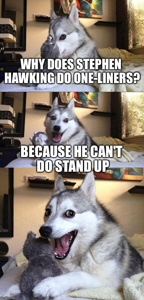 Bad Pun Dog Meme | WHY DOES STEPHEN HAWKING DO ONE-LINERS? BECAUSE HE CAN'T DO STAND UP | image tagged in memes,bad pun dog | made w/ Imgflip meme maker
