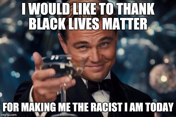 Leonardo Dicaprio Cheers Meme | I WOULD LIKE TO THANK BLACK LIVES MATTER FOR MAKING ME THE RACIST I AM TODAY | image tagged in memes,leonardo dicaprio cheers | made w/ Imgflip meme maker
