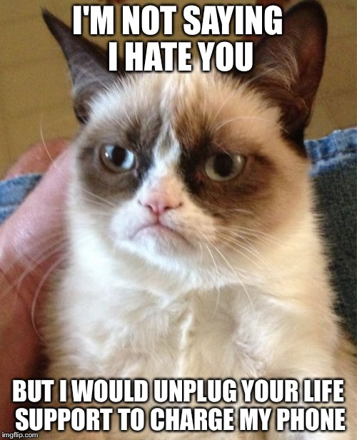 Grumpy Cat Meme | I'M NOT SAYING I HATE YOU BUT I WOULD UNPLUG YOUR LIFE SUPPORT TO CHARGE MY PHONE | image tagged in memes,grumpy cat | made w/ Imgflip meme maker