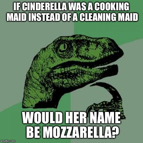 Philosoraptor Meme | IF CINDERELLA WAS A COOKING MAID INSTEAD OF A CLEANING MAID WOULD HER NAME BE MOZZARELLA? | image tagged in memes,philosoraptor | made w/ Imgflip meme maker