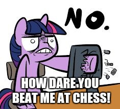 twilight sparkle no | HOW DARE YOU BEAT ME AT CHESS! | image tagged in twilight sparkle no | made w/ Imgflip meme maker