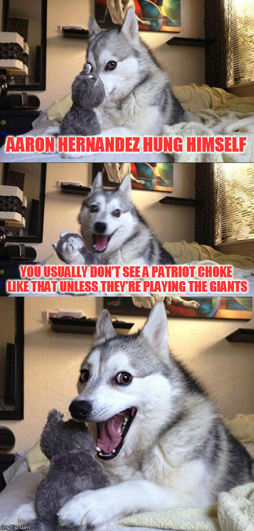 Good Riddance Murderer | AARON HERNANDEZ HUNG HIMSELF YOU USUALLY DON'T SEE A PATRIOT CHOKE LIKE THAT UNLESS THEY'RE PLAYING THE GIANTS | image tagged in memes,bad pun dog | made w/ Imgflip meme maker