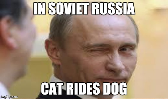 IN SOVIET RUSSIA CAT RIDES DOG | made w/ Imgflip meme maker