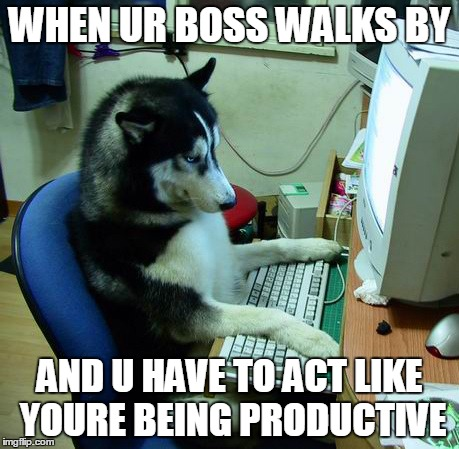 I Have No Idea What I Am Doing Meme | WHEN UR BOSS WALKS BY AND U HAVE TO ACT LIKE YOURE BEING PRODUCTIVE | image tagged in memes,i have no idea what i am doing | made w/ Imgflip meme maker
