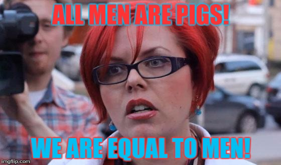 Angry Feminist | ALL MEN ARE PIGS! WE ARE EQUAL TO MEN! | image tagged in angry feminist | made w/ Imgflip meme maker