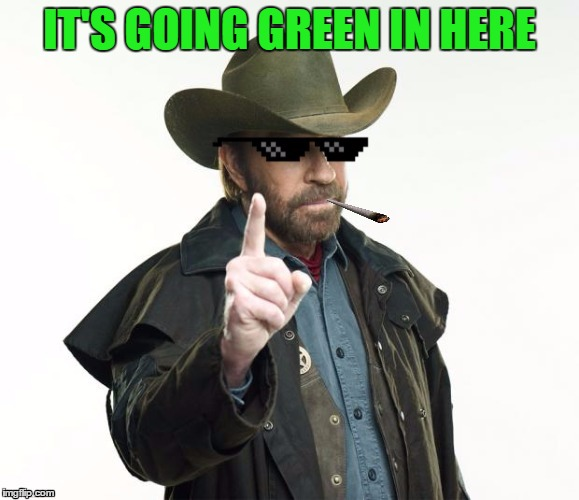 Dank Chuck Norris | IT'S GOING GREEN IN HERE | image tagged in dank chuck norris | made w/ Imgflip meme maker