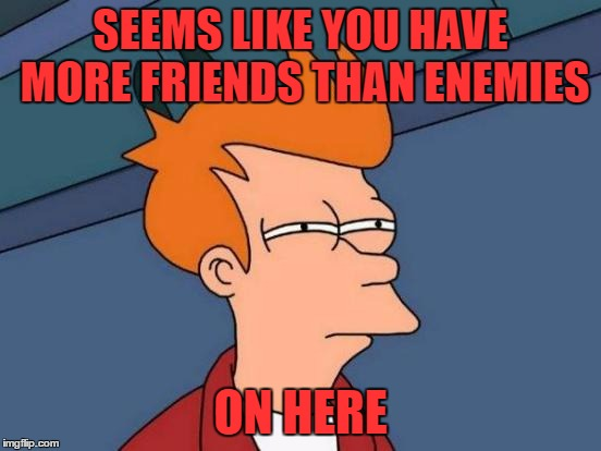 Futurama Fry Meme | SEEMS LIKE YOU HAVE MORE FRIENDS THAN ENEMIES ON HERE | image tagged in memes,futurama fry | made w/ Imgflip meme maker